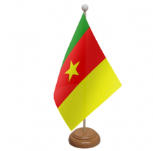 CAMEROON - TABLE FLAG WITH WOODEN BASE